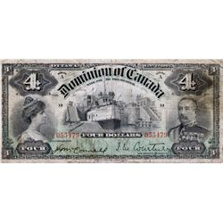 $4.00. Jan. 2, 1902. DC-17a. No. 055479/D. Courtney. PMG graded VG-10. A solid note bordering on fin