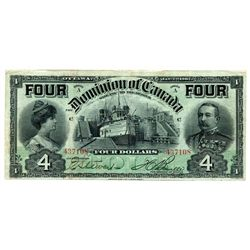$4.00. Jan. 2, 1902. DC-17b. 'FOUR's'. Boville, No. 437108. PMG graded Very Fine-30.