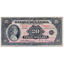 $20.00. 1935 Issue. BC-10. French Text. No. F018422/A. PMG graded Very Good-10.