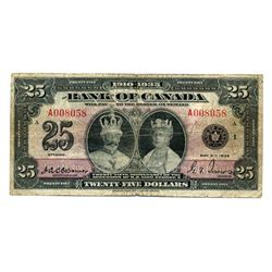 $25.00. 1935 Issue. BC-11. English Text. No. A008058/A. PMG graded Fine-15.
