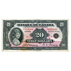 $20.00. 1936 Issue. BC-10. French Text. No. F010866/C. A bright Fine+.