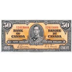 $50.00. 1937 Issue. BC-26b. No. B/H2413069. CCCS Extra Fine- 45.