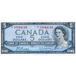 $5.00. 1954 Issue. BC-39bA. Beattie-Rasminsky. No. *I/X0044148 & No. *N/X0099130. Both BCS graded Ve