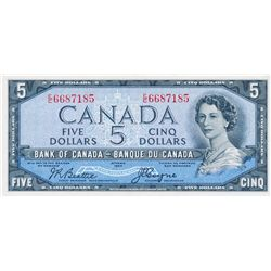 $5.00. 1954 Issue. BC-31b. No. E/C6687185. PMG graded AU-53 EPQ.