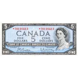 $5.00. 1954 Issue. BC-39bA. Modified. Beattie-Rasminsky. No. *N/X0116413. Extra Fine+.