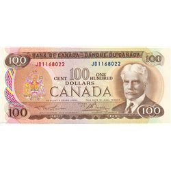 $100.00. 1975 Issue. BC-52a. Lawson-Bouey. No. JD1168022. CCCS graded AU-55. A short series.