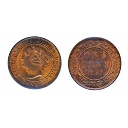 1859, Narrow 9. ICCS Mint State-63. Red-Brown. 40% red luster.