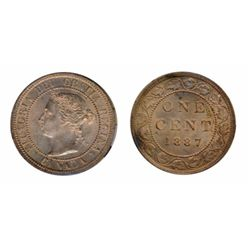 1887. ICCS Mint State-63. Red-Brown. 80%/60% luster on obverse/reverse.