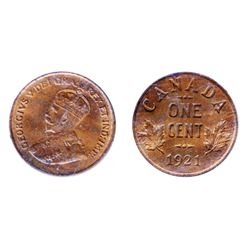 1921. ICCS Mint State-63. Red-Brown. 30% red luster.
