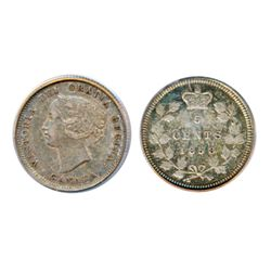 1858. Small Date. PCGS graded AU-53. Medium heavy toning.