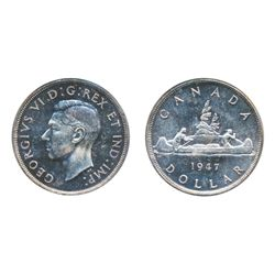 1947. Blunt 7. ICCS Mint State-64. Light blue toning, with a cameo bust and good 'eye appeal'.