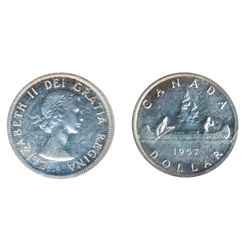 1957. One Water Line. ICCS Proof-Like-65. A rare variety in Proof-Like. A lustrous Gem, with a trace