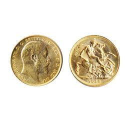 Sovereign. 1910-C. AU-55. Brilliant, lustrous yellow golden luster.
