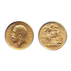 Sovereign. 1919-C. Both ICCS and PCGS graded Mint State-63. Brilliant golden luster.