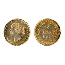 $2.00 Gold. 1865. ICCS AU-55. Golden luster.