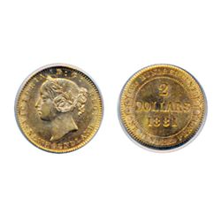 $2.00 Gold. 1881. PCGS graded AU-58. Brilliant, orange-gold luster.