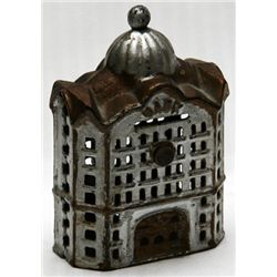 BANK. Bank building. Coin opening on top. No handle, key, serial number or patent number. 8cm x 12cm