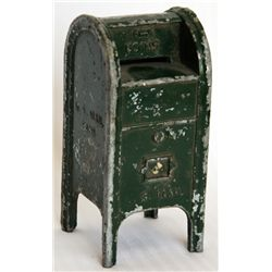 U.S. MAIL. BANK. Standing Mail Box shaped. Coin opening on top. No handle, key or serial number. Pat