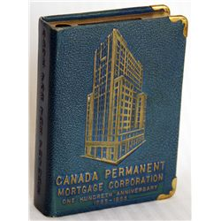 CANADA PERMANENT MORTGAGE CORPORATION. ONE HUNDREDTH ANNIVERSARY 1855-1955. Slot for coins and hole