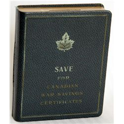 SAVE FOR CANADIAN WAR SAVINGS CERTIFICATES. Slot for coins on top. No serial number. Key lock. No ke