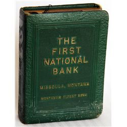 THE FIRST NATIONAL BANK, MISSOULA, MONTANA. Montana's Oldest Bank. Coin slot on top. Key lock, key p