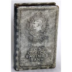 POST OFFICE SAVINGS BANK, 1910-1935. Coin slot and currency hole at bottom. Key lock. No key present