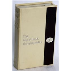 THE WORLD BANK ENCYCLOPEDIA. Coin slot on top. No key or serial number. 5cm x 9cm x 1 1/2cm. White &