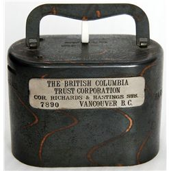 THE BRITISH COLUMBIA TRUST CORPORATION. Cor. Richards & Hastings Sts. Vancouver, BC. An oval satchel