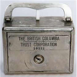 THE BRITISH COLUMBIA TRUST CORPORATION. A square satchel bank. Coin slot and banknote hole on right.