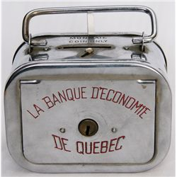 LA BANQUE D'ECONOME DE QUEBEC. A satchel bank, with rounded corners. Also known as 'The Home Savings