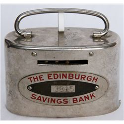 THE EDINBURGH SAVINGS BANK. An oval satchel bank. Coin slot on front, with banknote hole on right si