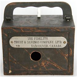 THE FIDELITY TRUST & SAVINGS COMPANY, LTD. VANCOUVER, CANADA. Steel satchel bank, with square corner