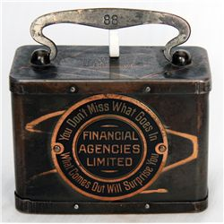 FINANCIAL AGENCIES LIMITED. 'YOU DON'T MISS WHAT GOES IN..' A steel satchel bank, with rounded corne