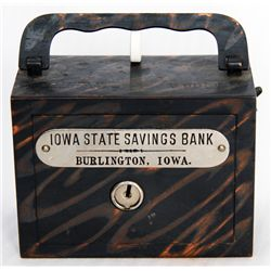 IOWA STATE SAVINGS BANK, BURLINGTON, IOWA. A steel satchel bank, with square corners. Coin slot at r