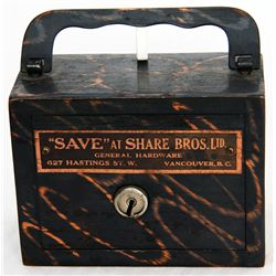 """SAVE"" AT SHARE BROS., LTD/GENERAL HARDWARE/627 HASTINGS ST. W/VANCOUVER, BC. A steel satchel bank,"