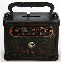 SAVINGS DEPARTMENT THE BANK OF VANCOUVER, VANCOUVER, BC. Rectangular steel satchel bank, with slight