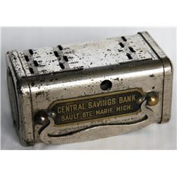 CENTRAL SAVINGS BANK SAULT STE. MARIE, MI. An oval 'Savings Teller Bank'. 1, 5, 10, 25, 50 & $5.00 G