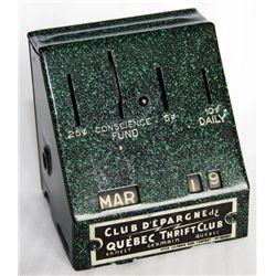 CLUB D'EPARGNE DE QUEBEC THRIFT CLUB ERNEST GERMANIN QUEBEC. A non-regular pentagon shaped bank (sim