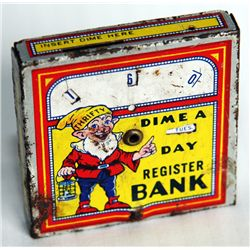 THRIFTY 'DIME A DAY'. A Square Register Bank. Ten cent slot on top. No serial number. 6cm x 6cm x 1c