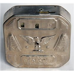 DIME REGISTER BANK. A Nickel-plated Octagonal Register Bank. Ten cent slot on top. Eagle on front. N