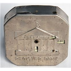TREASURY REGISTER BANK. A Nickel-plated Octagonal Register Bank. Dime slot at top. Treasury Building