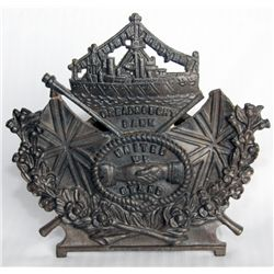 DREADNOUGHT BANK - UNITED WE STAND. Shape of a Ship sitting on a Coat of Arms. A Brass bank. Coin sl