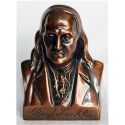 BENJ. FRANKLIN FEDERAL SAVINGS & LOAN ASSN, PORTLAND, OREGON. Bust of Benj. Franklin. Coin slot on b