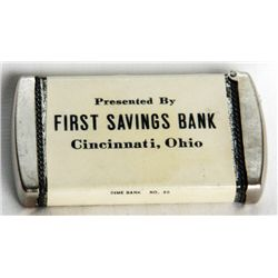 PRESENTED BY FIRST SAVINGS BANK/CINCINNATI, OHIO. 'DIME BANK NO. 20. A small Pocket Bank. Coin openi