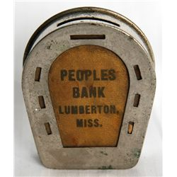 PEOPLES BANK, LUMBERTON, MISS. A Horse-Shoe shaped Pocket Bank. 'Fortune favors the Thrifty. 25 Cent