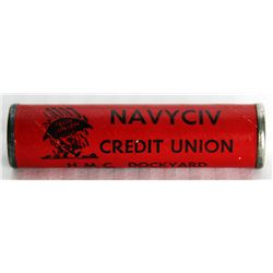 COIN TUBE. A Ten Cents coin tube. 8cm x 2cm. NAVY CIV CREDIT UNION, ESQUIMALT, BC. Red card tube. VF