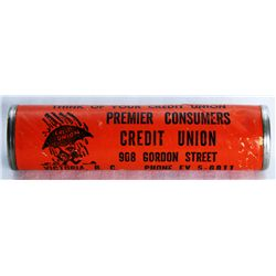 COIN TUBE. A Ten Cents coin tube. 8cm x 2cm. PREMIER CONSUMERS CREDIT UNION, VICTORIA, BC. Orange ca