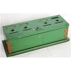 HOME BUDGET BANK. Rectangular shape. 9cm x 24cm x 8cm in height. Green metal. Four slots on top. Mak