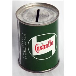 CASTROLLO MOTOR OIL. A small can shaped bank, with the coin slot on top. 5cm in diameter, 7cm in hei