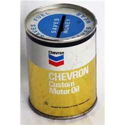 CHEVRON/SAVES FUEL-SAVER WEAR-SAVES MONEY. CUSTOM MOTOR OIL. A small can shaped bank, with the coin